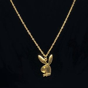 Gold Playboy Bunny Pendant Necklace